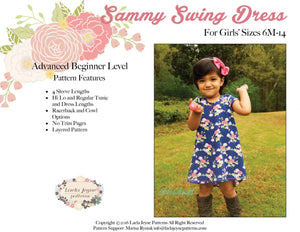 Girls Swing Dress Sewing Pattern