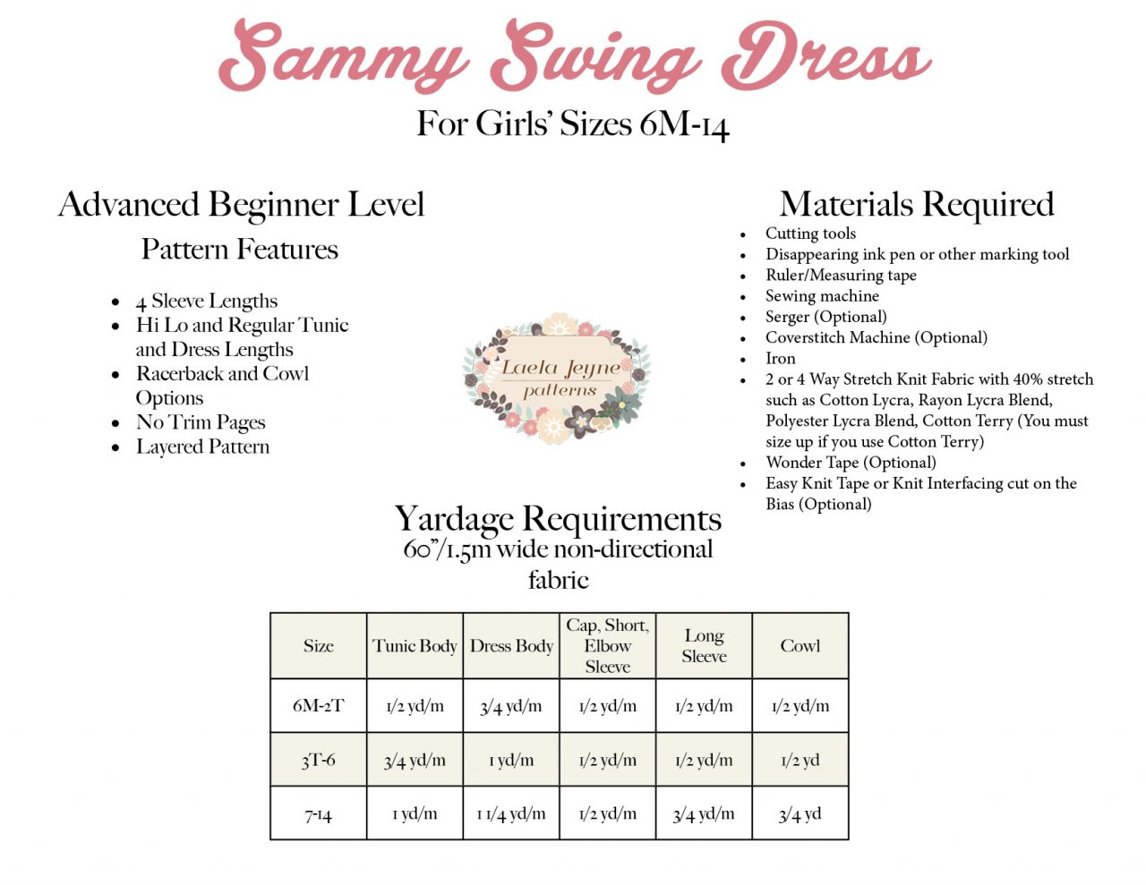 Girls Swing Dress Sewing Pattern Information