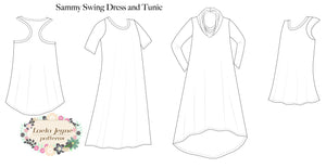 Girls Swing Dress Line Drawing