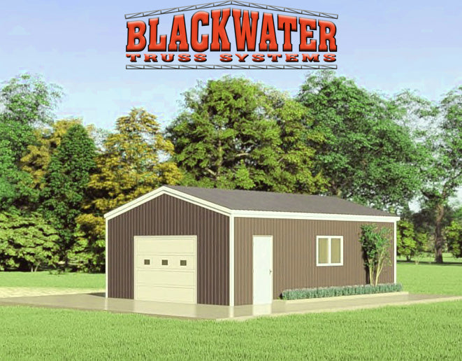 """THE BLACKWATER"" - COMPLETE ENCLOSED POLE BARN KIT - 24' X 36' X 10'"