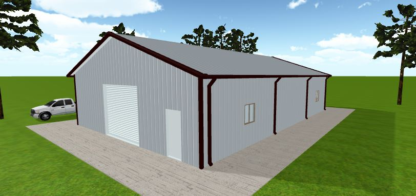 """THE PARTHENON"" - COMPLETE ENCLOSED POLE BARN KIT - 40' X 60' X 12'"