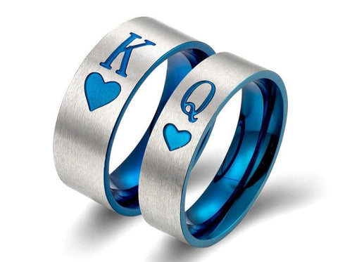 Fashion Stainless Steel Couple Rings New King/Queen Poker Blue Rings Wedding Rings for Women Men Steampunk Two Color Men's Rings
