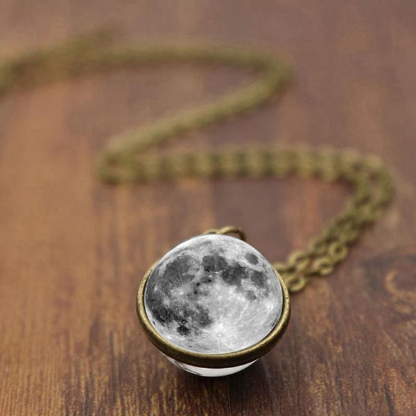 Double-sided Grey Full Moon  Glass Ball Necklace