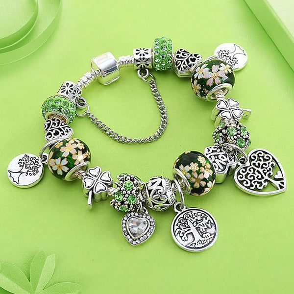 Silver Heart Shaped Flower Bead Bracelet