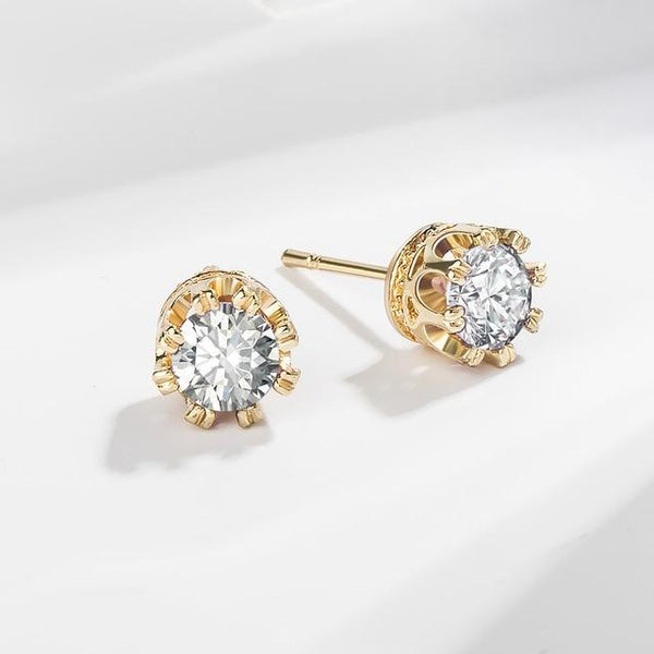 Korean Round Crystal Stud Earrings