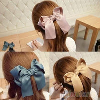 Multicolor Satin Ribbon Bow Hair Clips