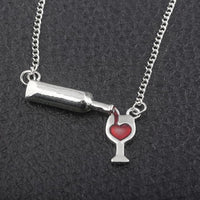 Lover's Red Heart Wine Bottle Necklaces