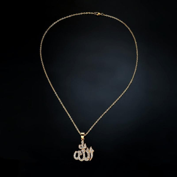 Womens Gold  God Allah Pendant Necklace