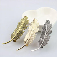 Metal Leaf Feather Hair Clip