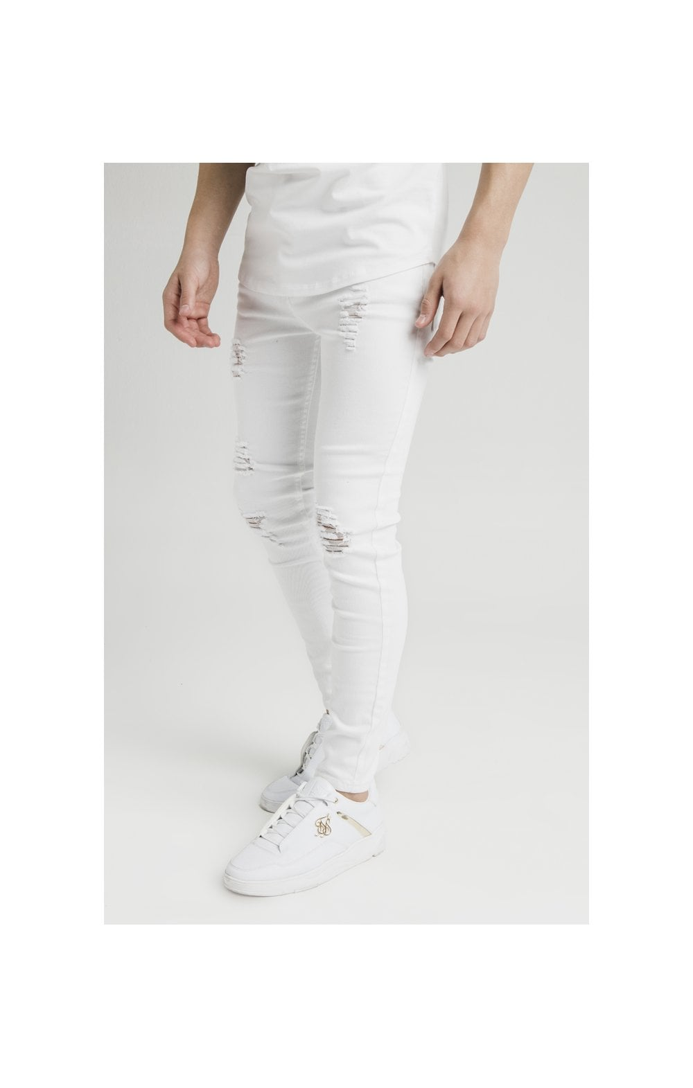 Illusive London Distressed Skinny Denims - White