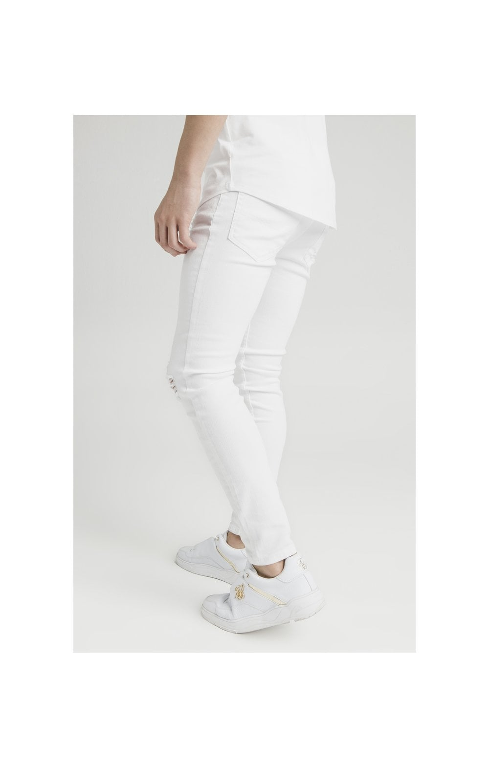 Illusive London Distressed Skinny Denims - White (3)