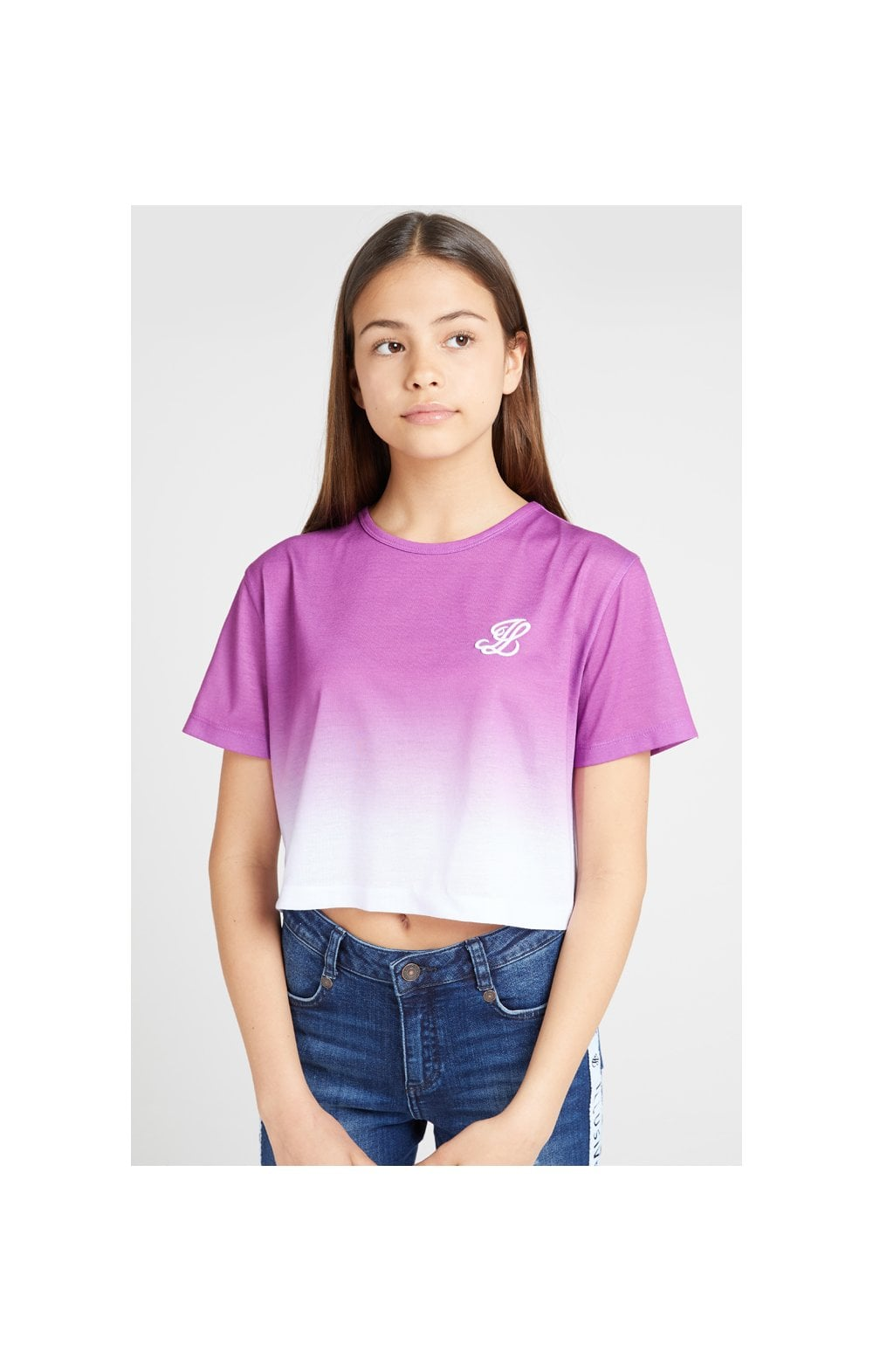 Load image into Gallery viewer, Illusive London Crop Fade Tee - Pink & White (1)