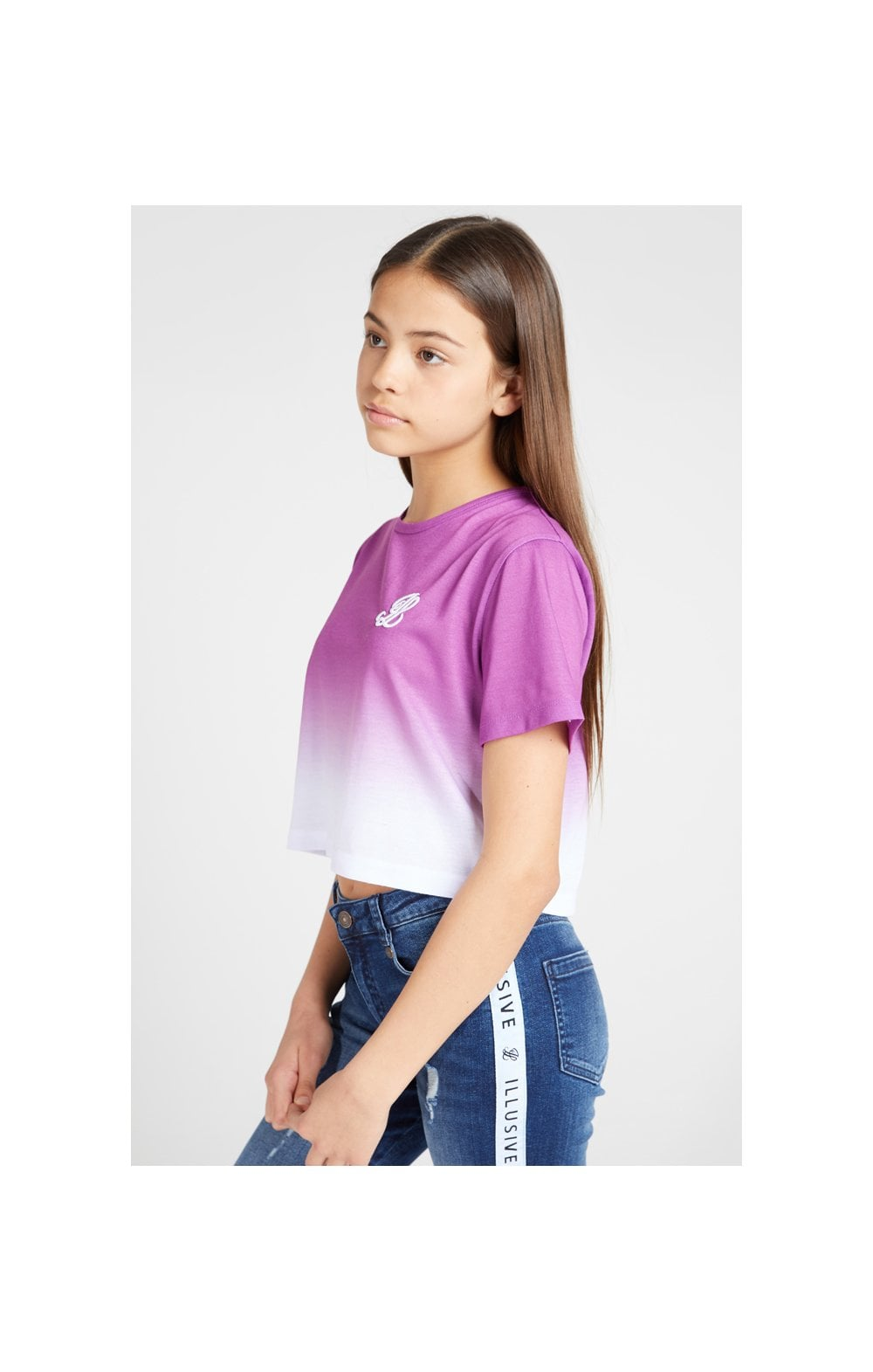 Load image into Gallery viewer, Illusive London Crop Fade Tee - Pink & White (2)