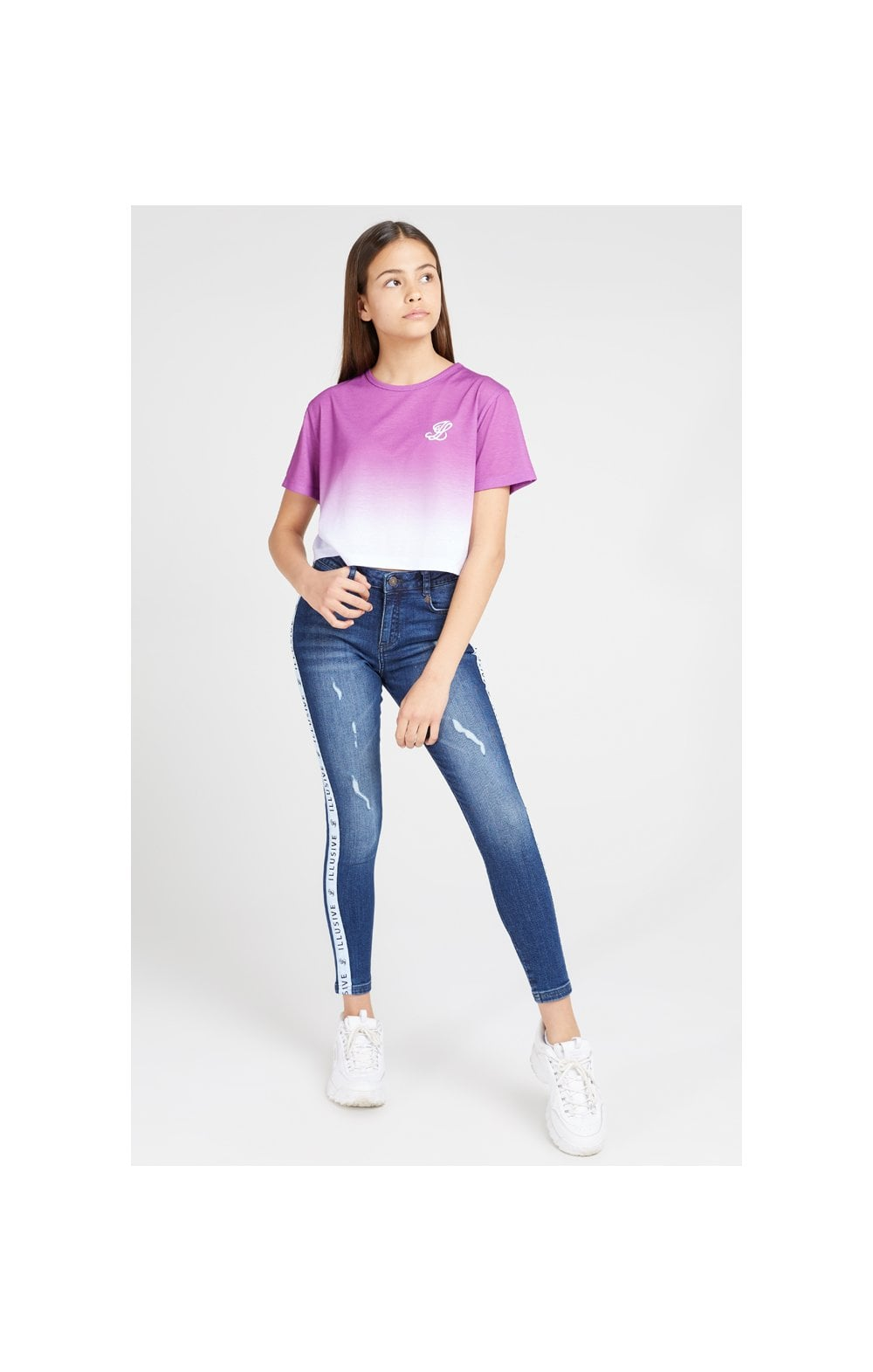 Load image into Gallery viewer, Illusive London Crop Fade Tee - Pink & White (5)