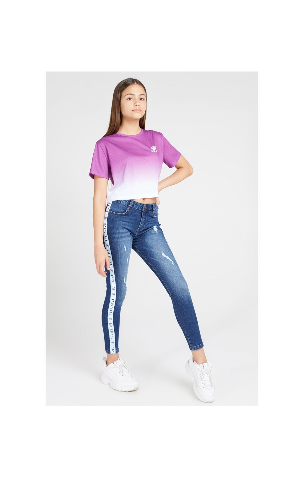 Load image into Gallery viewer, Illusive London Crop Fade Tee - Pink & White (6)
