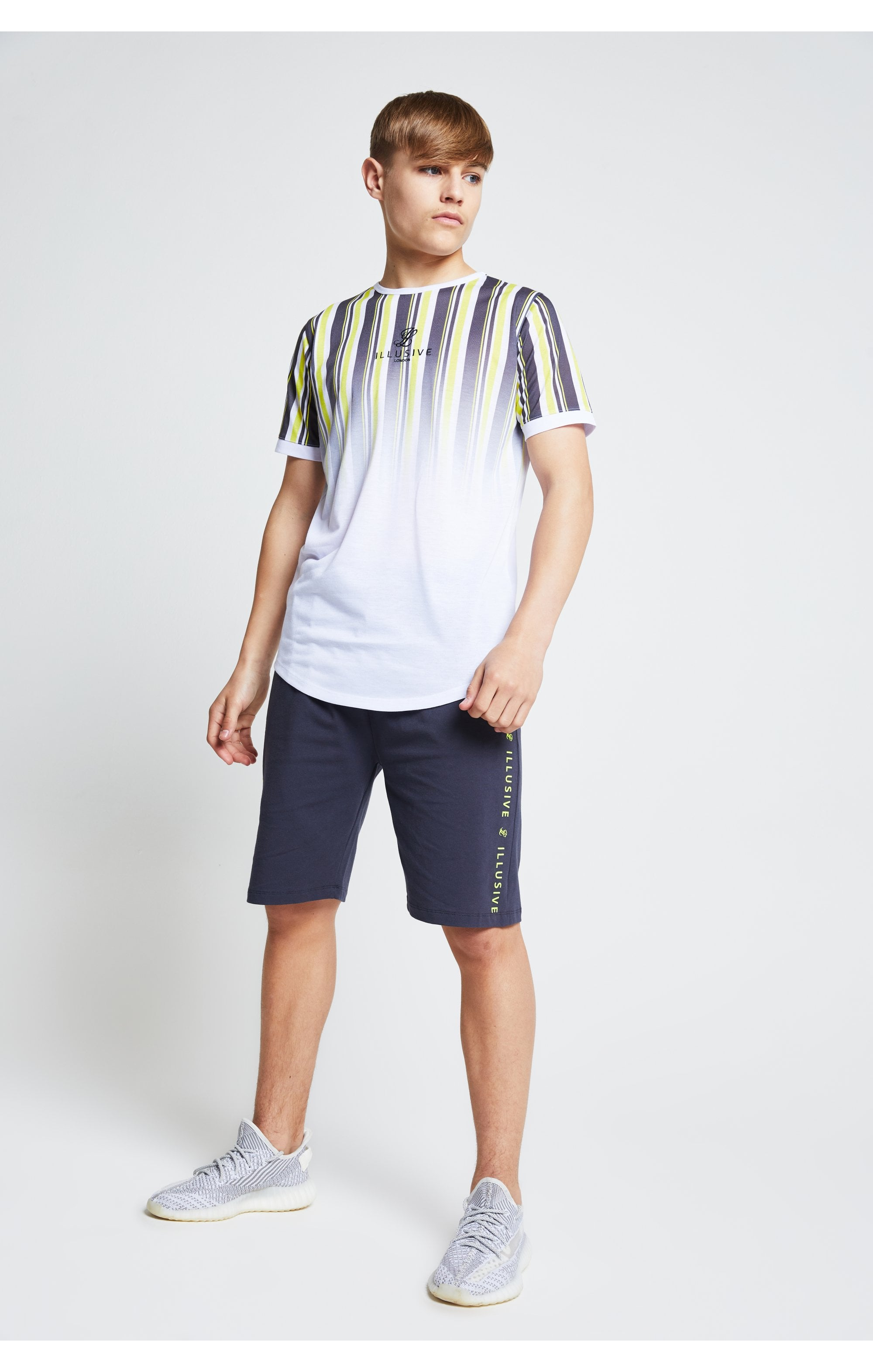 Illusive London Jersey Shorts - Grey Neon Yellow (3)