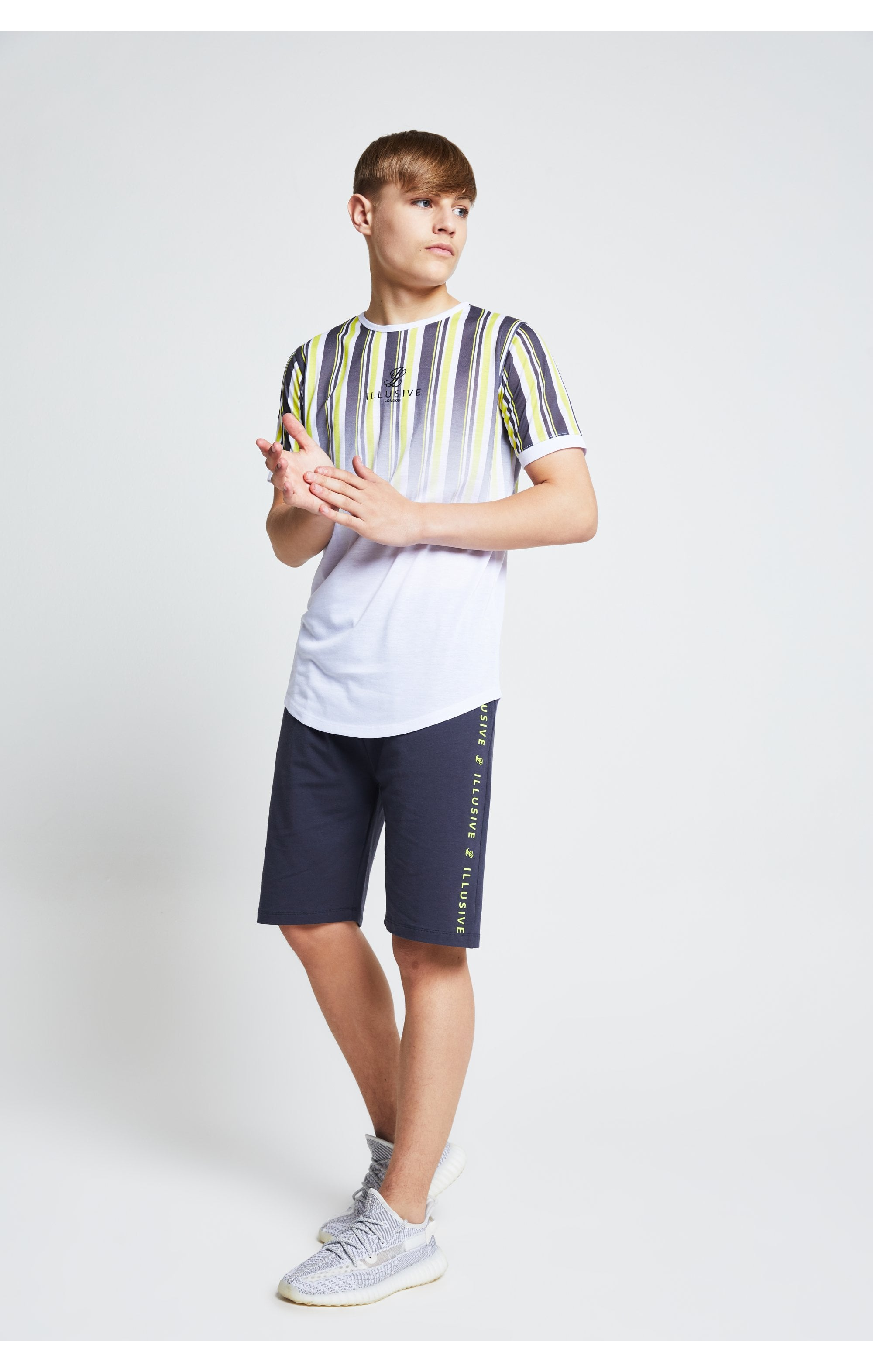 Illusive London Jersey Shorts - Grey Neon Yellow (4)