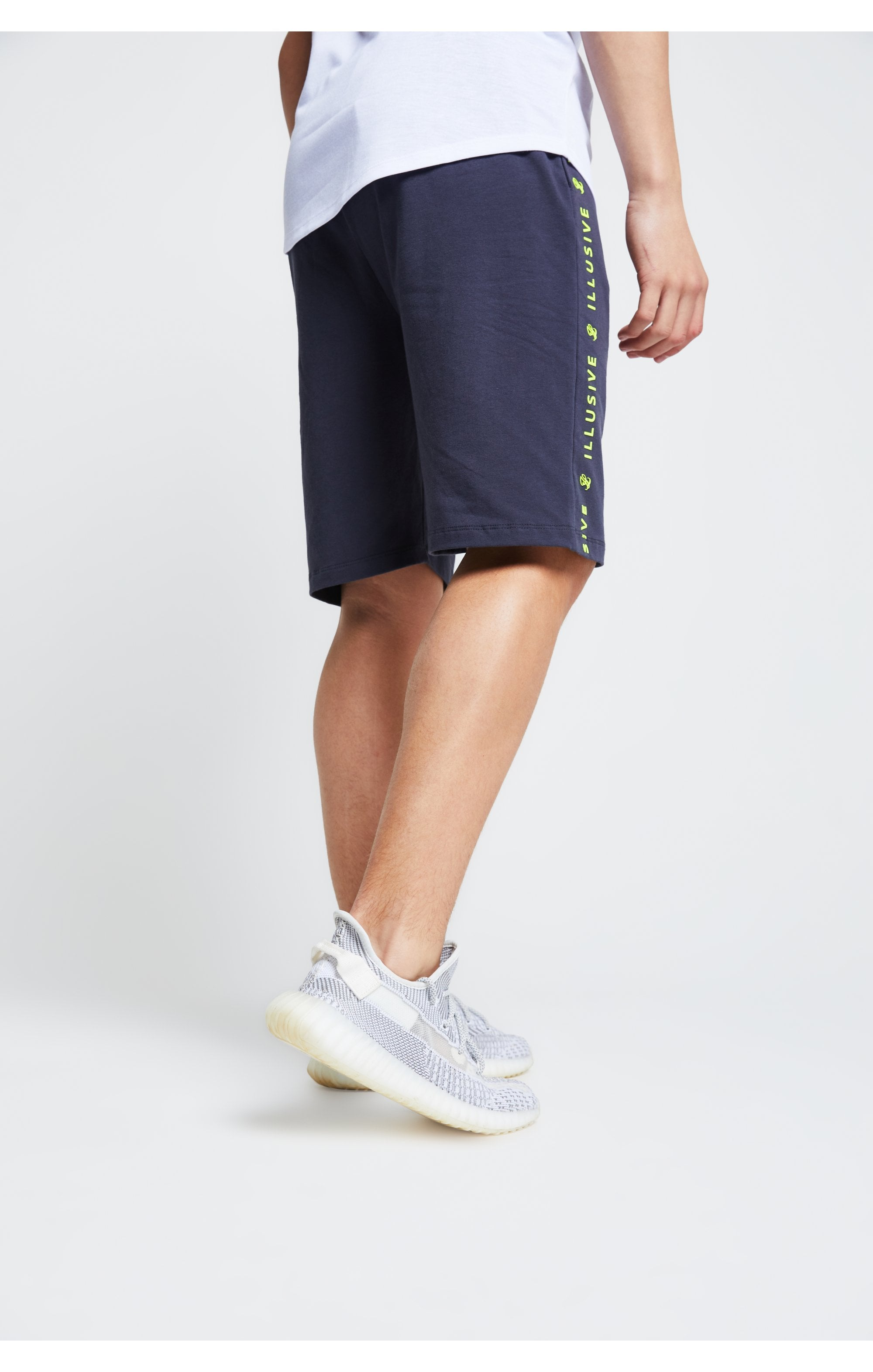 Illusive London Jersey Shorts - Grey Neon Yellow (2)