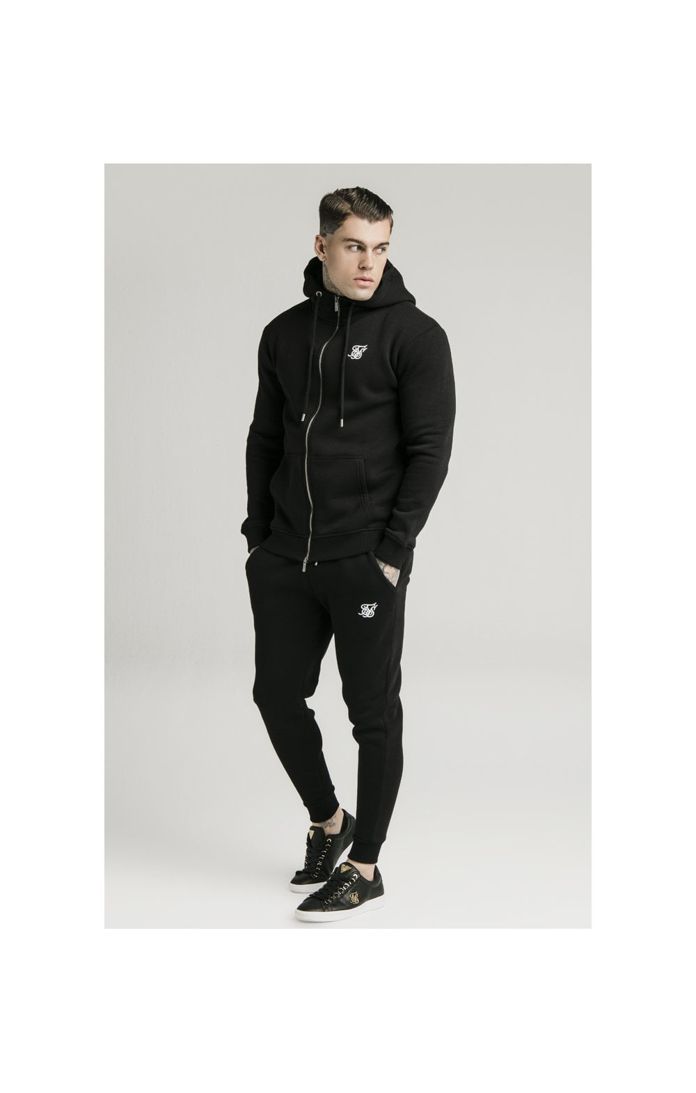 SikSilk Zip Through Funnel Neck Hoodie - Black (1)
