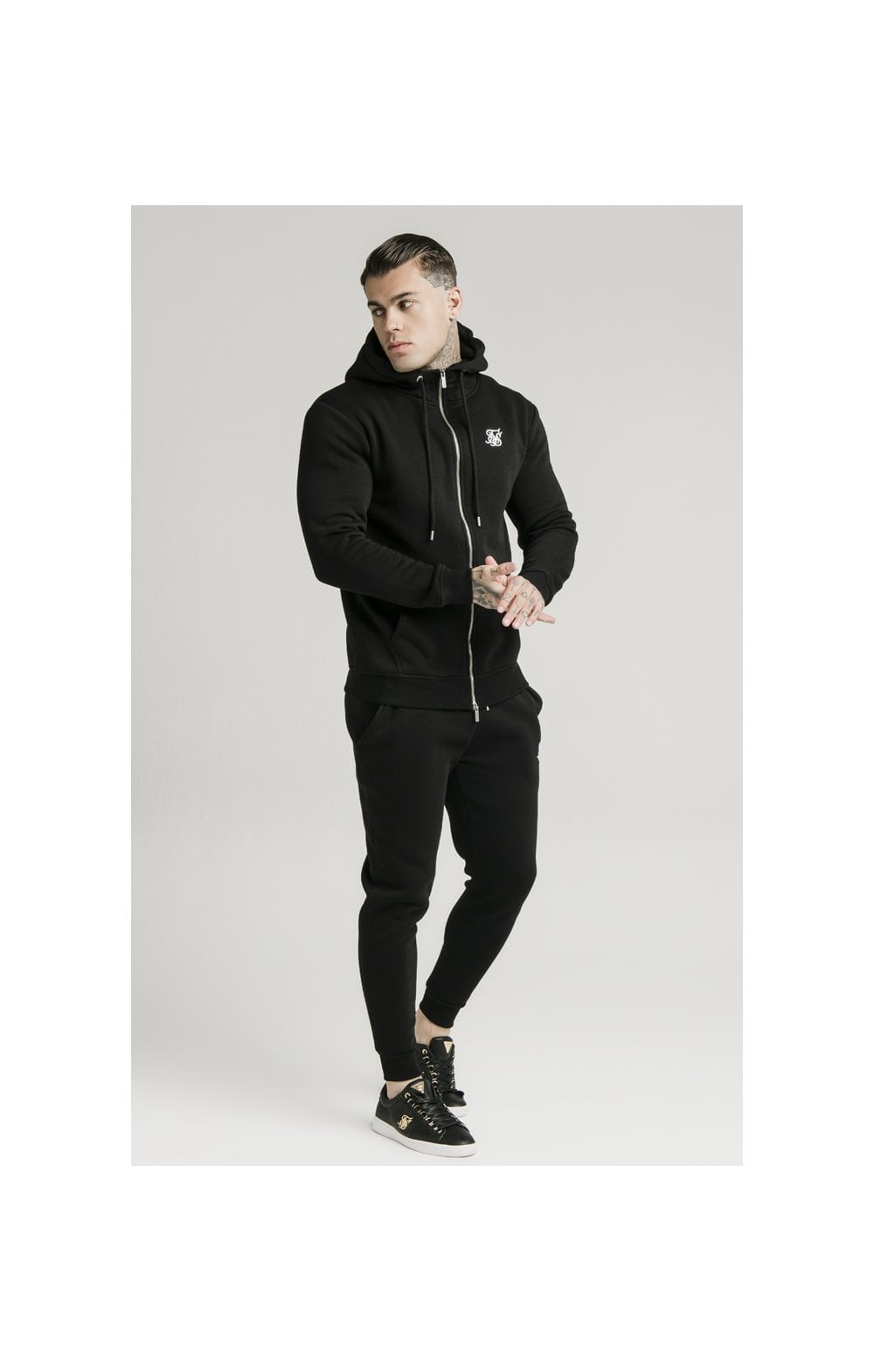 SikSilk Zip Through Funnel Neck Hoodie - Black (2)
