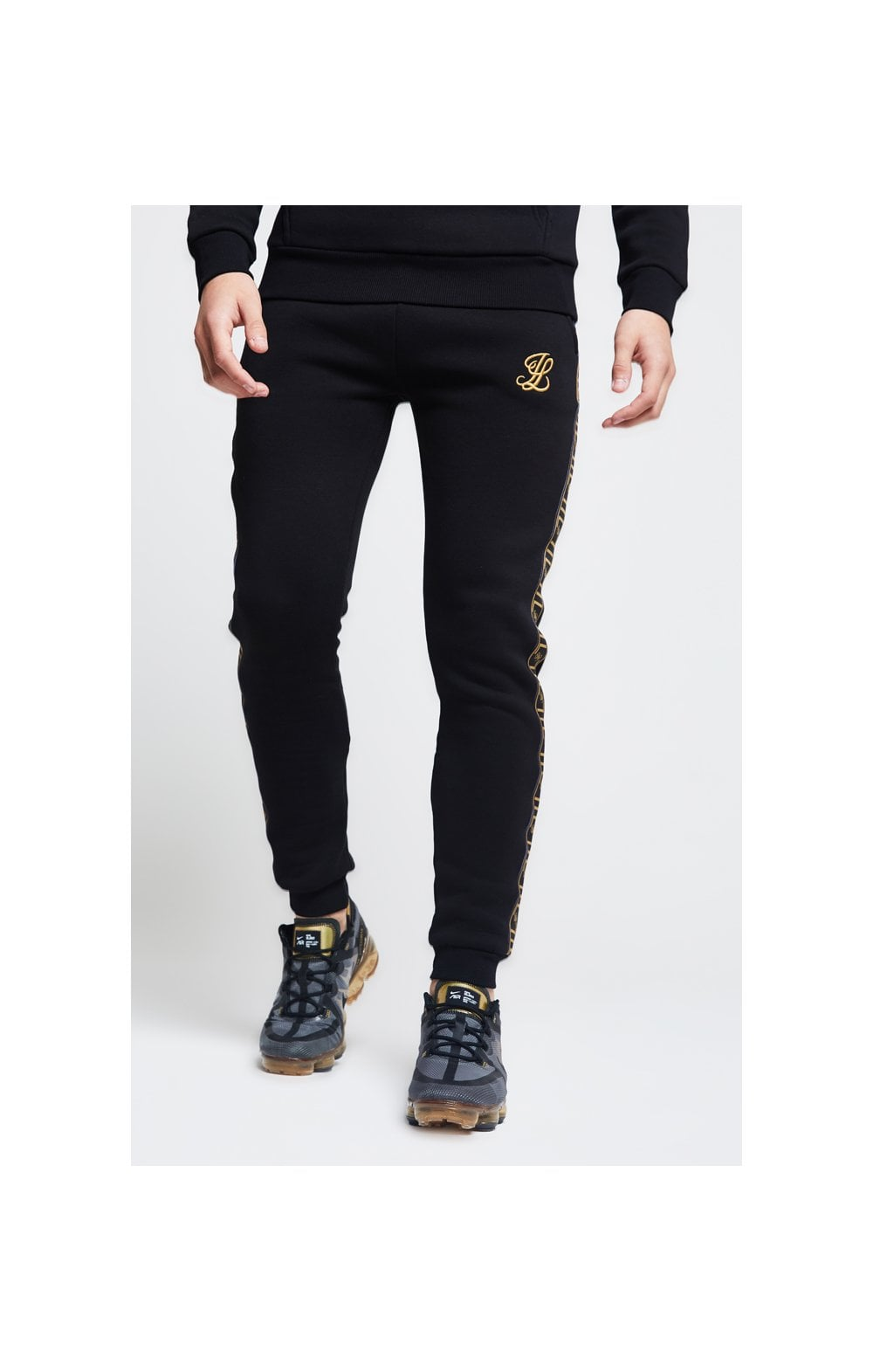 Load image into Gallery viewer, Illusive London Taped Cuffed Joggers – Black (1)