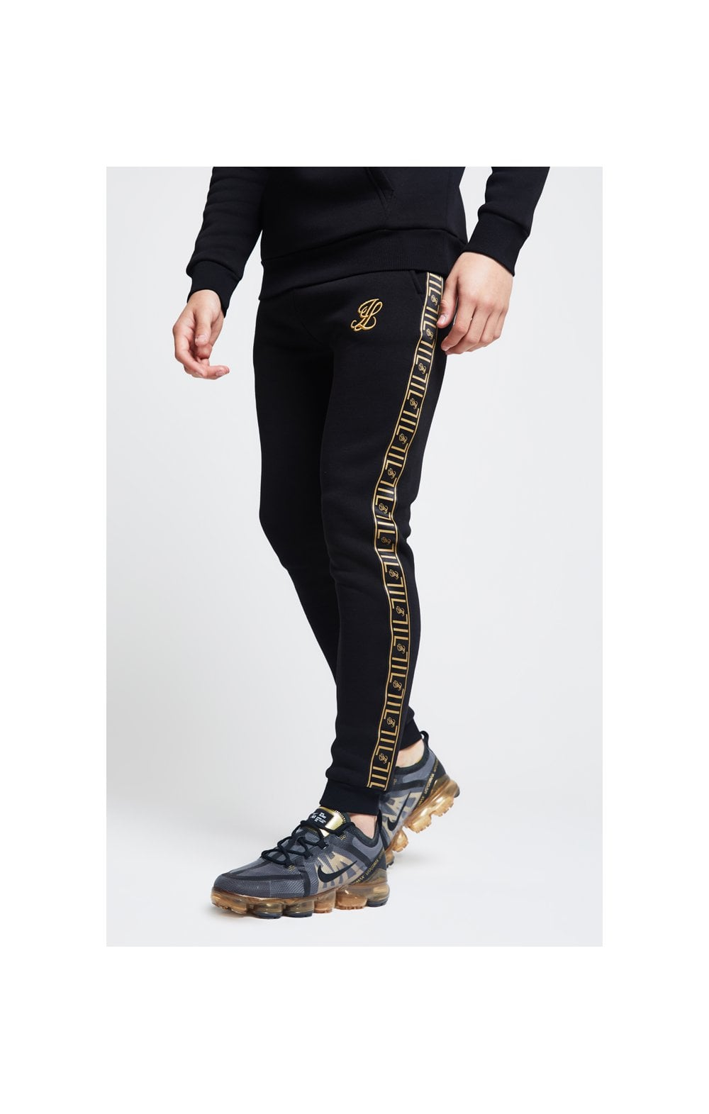 Load image into Gallery viewer, Illusive London Taped Cuffed Joggers – Black