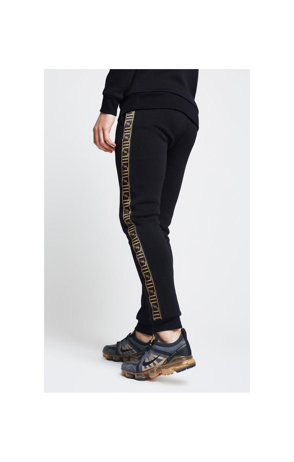 Load image into Gallery viewer, Illusive London Taped Cuffed Joggers – Black (4)
