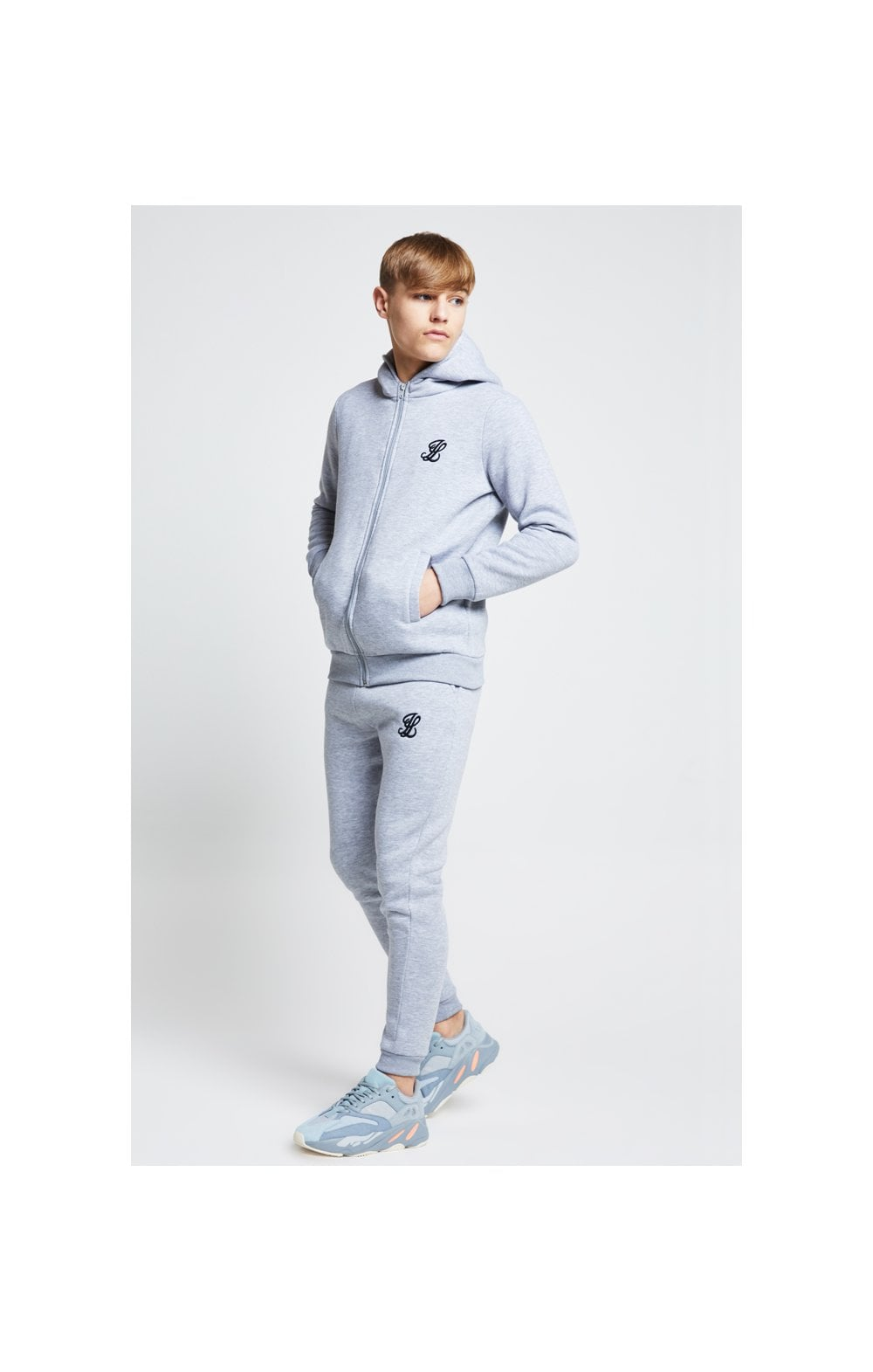 Illusive London Zip Through Hoodie - Grey Marl (3)