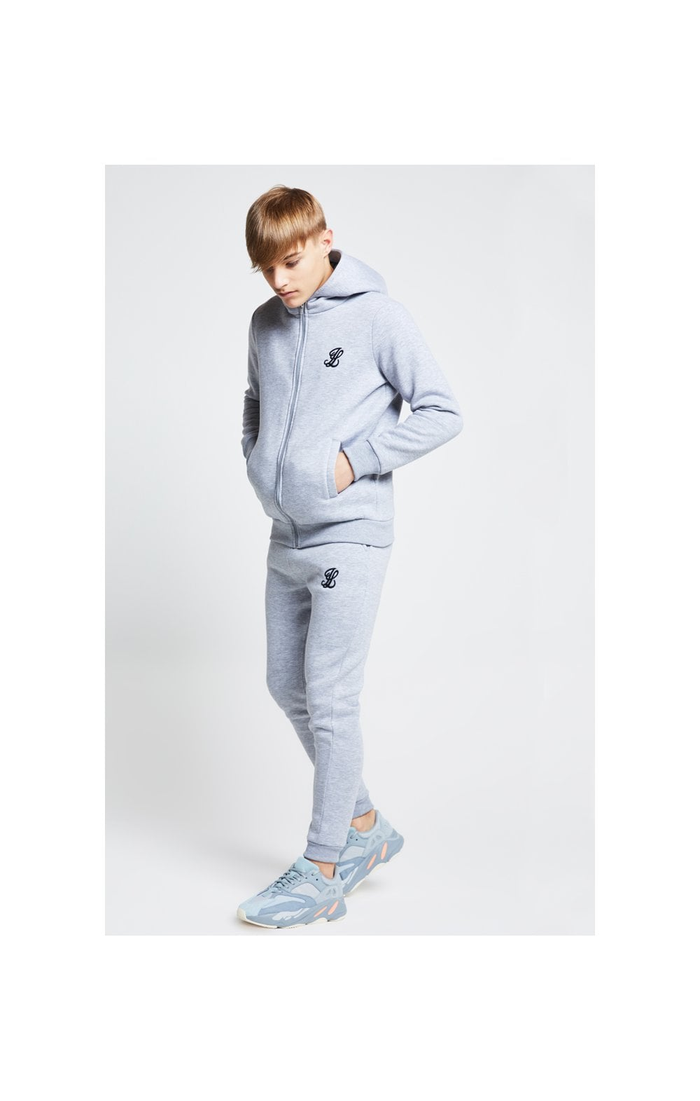 Illusive London Zip Through Hoodie - Grey Marl (4)