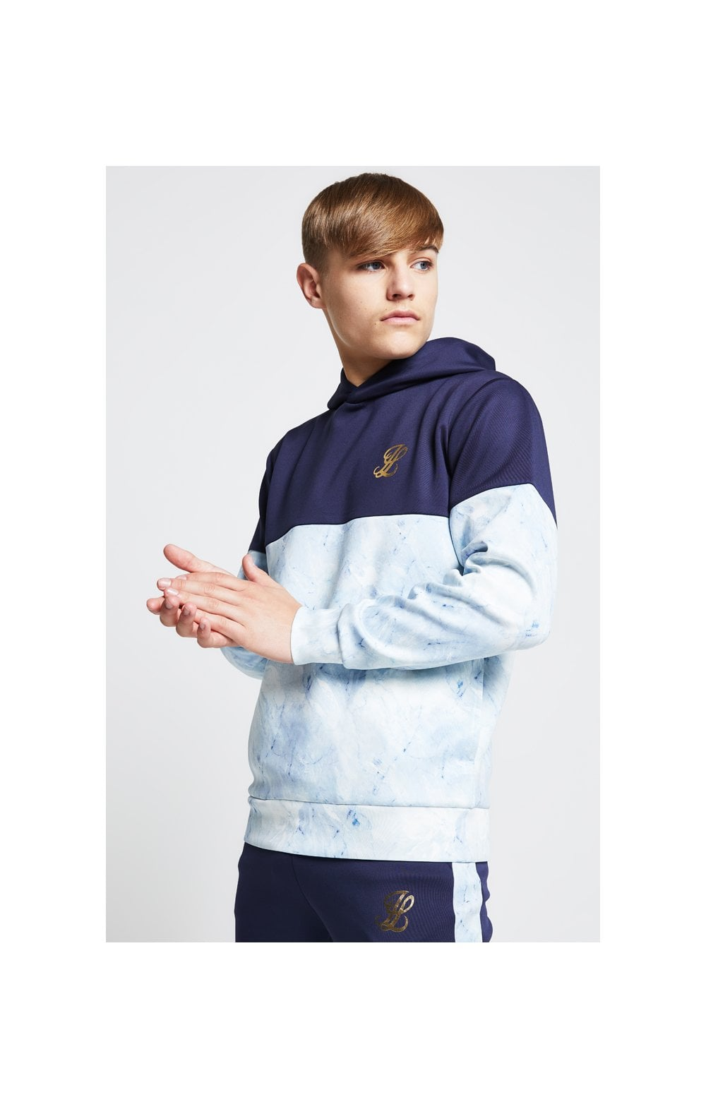 Load image into Gallery viewer, Illusive London Cut & Sew Marble Overhead Hoodie - Navy & Marble (1)