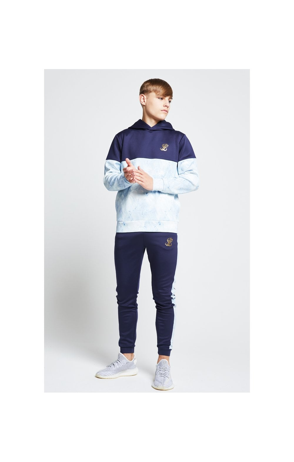 Illusive London Cut & Sew Marble Overhead Hoodie - Navy & Marble (2)