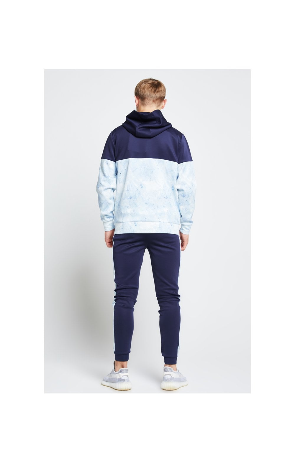 Load image into Gallery viewer, Illusive London Cut & Sew Marble Overhead Hoodie - Navy & Marble (4)