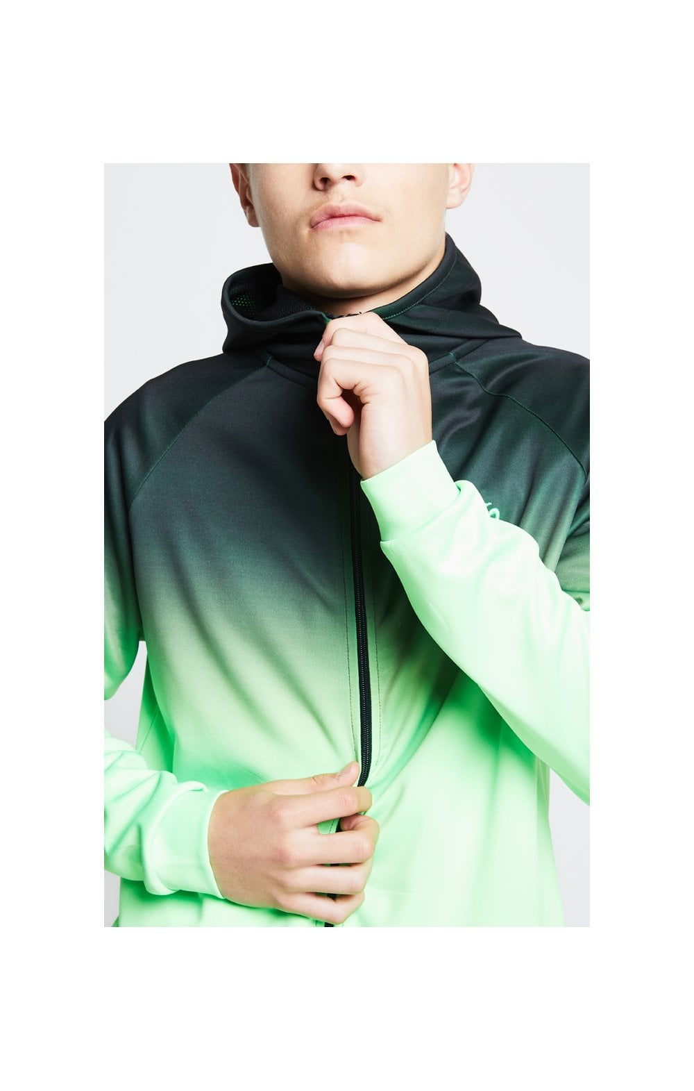 Illusive London Athlete Zip Through Hoodie - Black & Neon Green