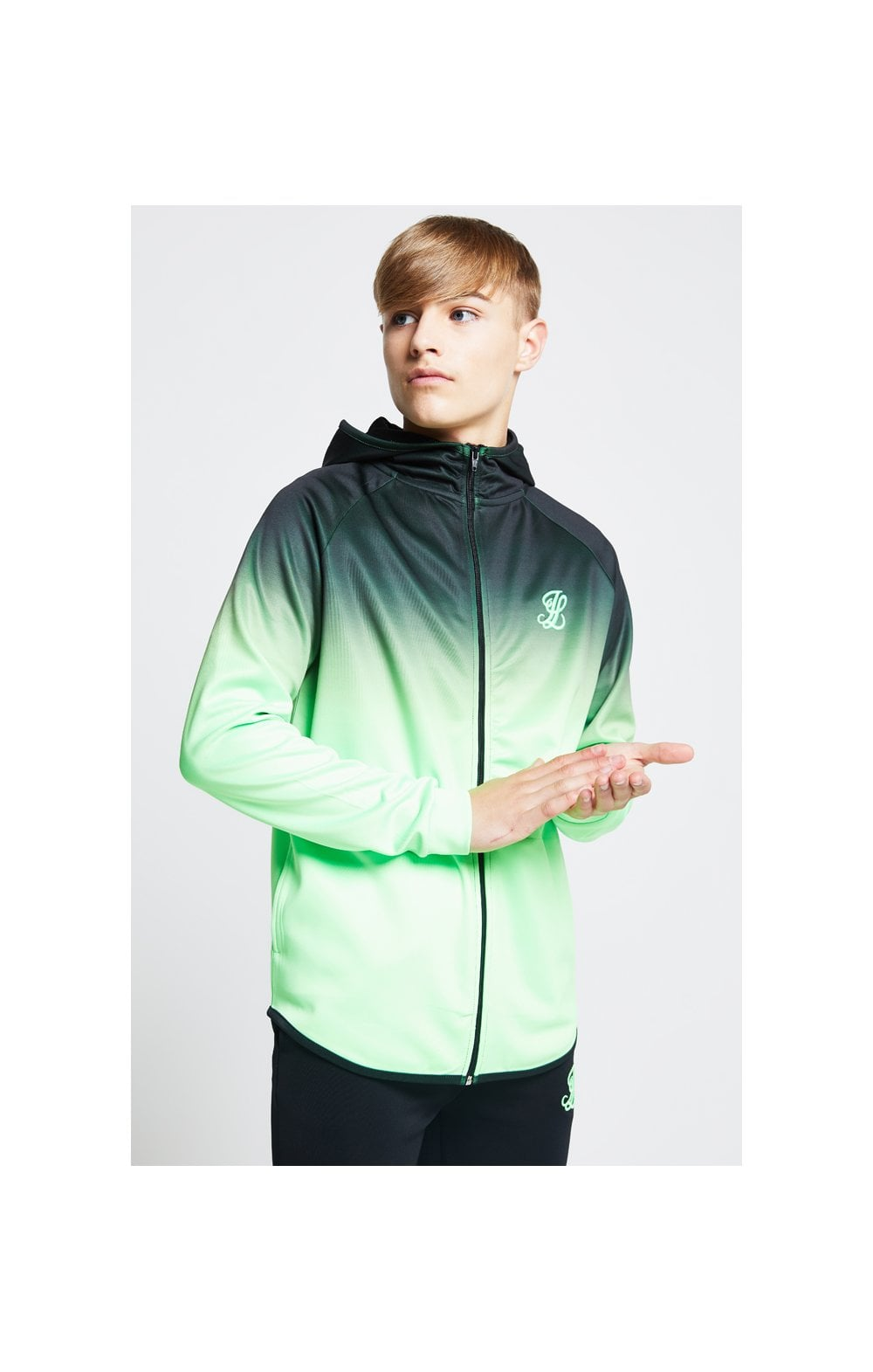 Load image into Gallery viewer, Illusive London Athlete Zip Through Hoodie - Black & Neon Green (1)