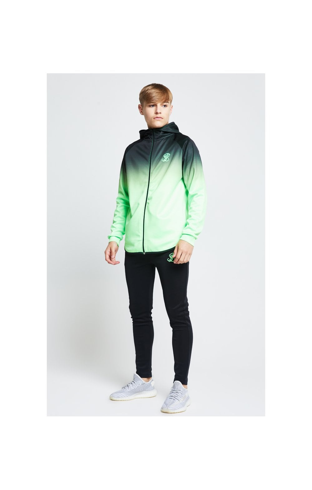 Illusive London Athlete Zip Through Hoodie - Black & Neon Green (2)