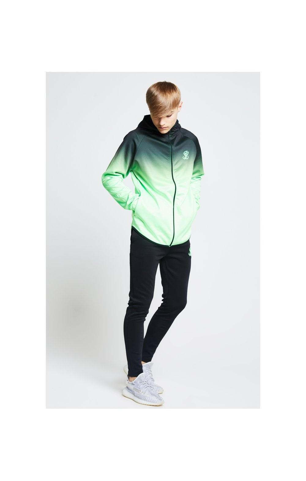 Illusive London Athlete Zip Through Hoodie - Black & Neon Green (3)