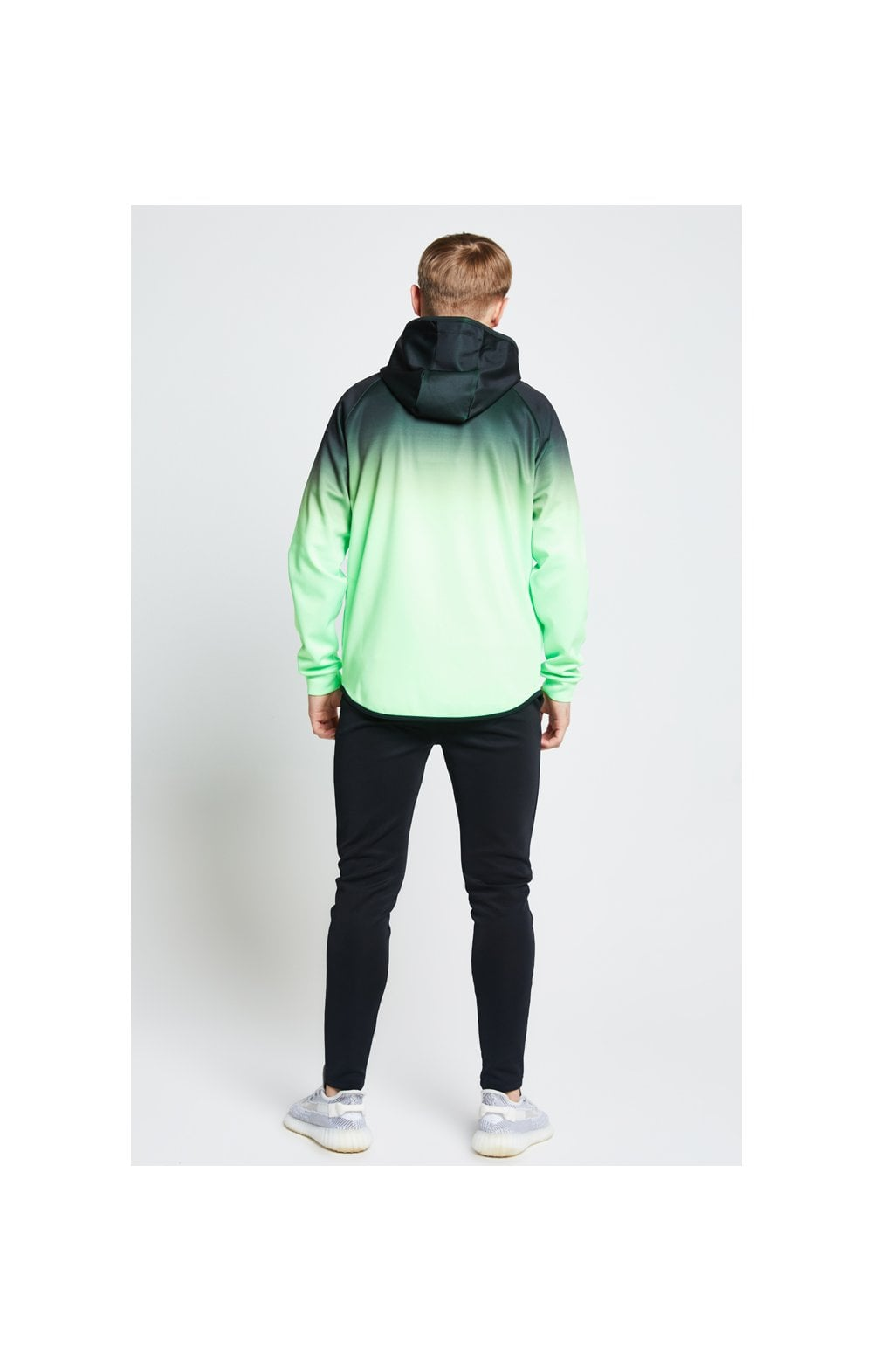 Illusive London Athlete Zip Through Hoodie - Black & Neon Green (4)