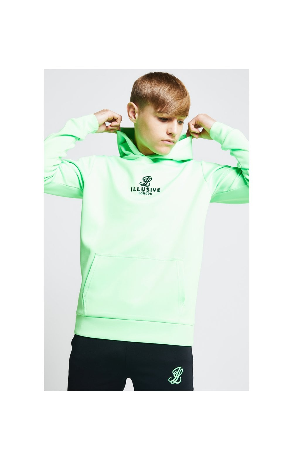 Illusive London Taped Overhead Hoodie - Neon Green