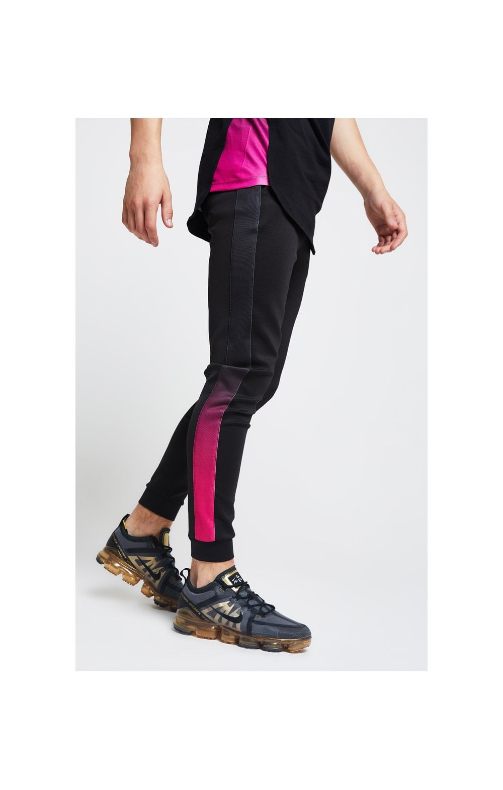 Load image into Gallery viewer, Illusive London Fade Panel Cuffed Joggers – Black & Pink