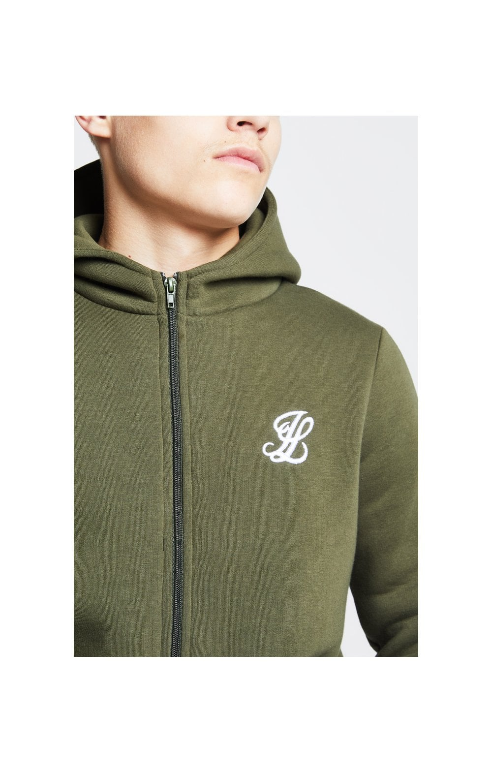 Illusive London Zip Through Hoodie - Khaki