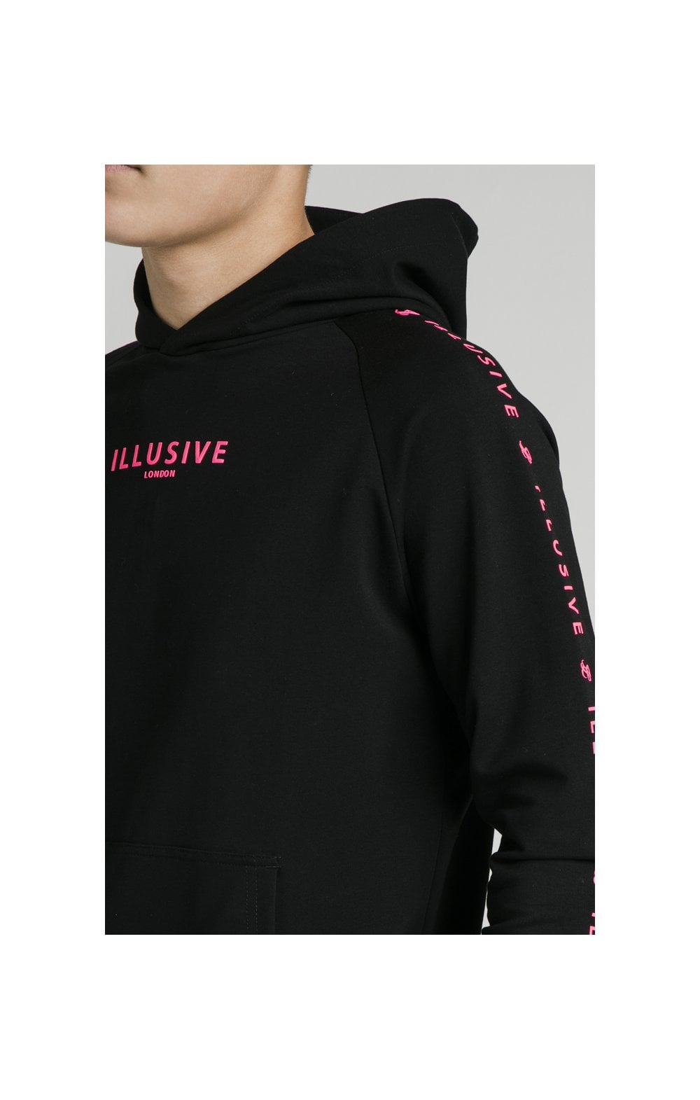 Illusive London Overhead Hoodie - Black & Neon Pink