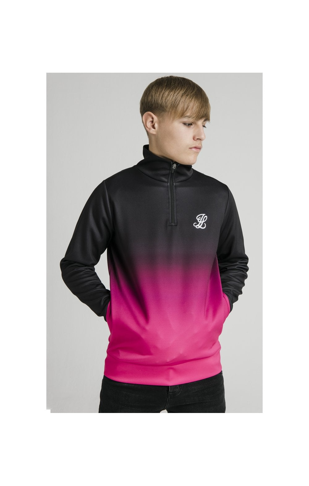 Illusive London Funnel Neck 1/4 Zip Hoodie - Black & Pink