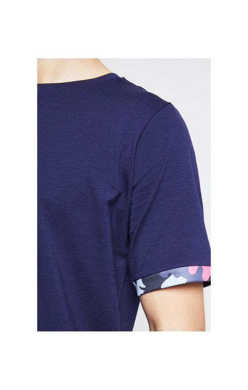 Illusive London Contrast Cuff Tee – Navy & Neon Pink Camo