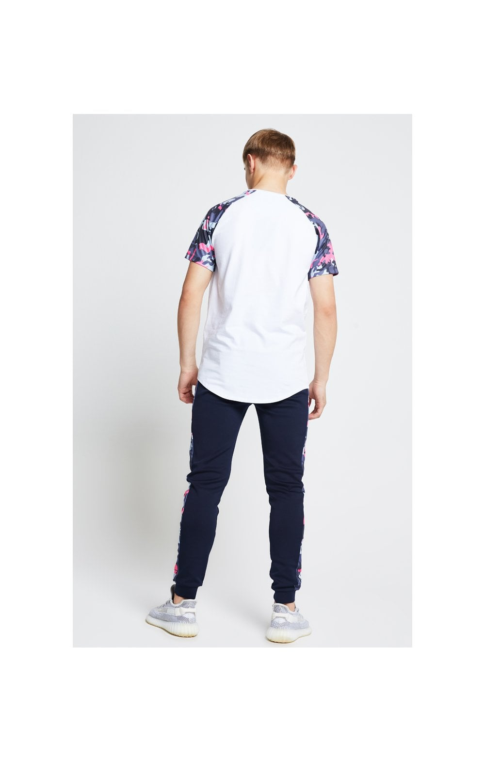 Load image into Gallery viewer, Illusive London Raglan Tee – White & Neon Pink Camo (5)