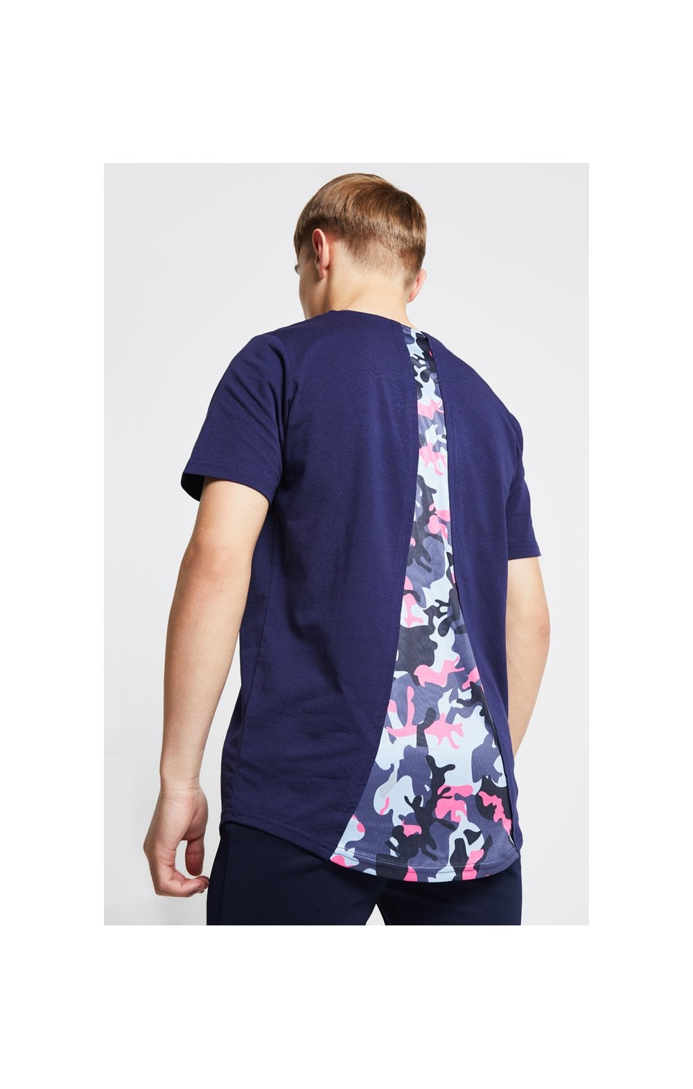 Load image into Gallery viewer, Illusive London Racer Back Tee – Navy & Neon Pink Camo (1)