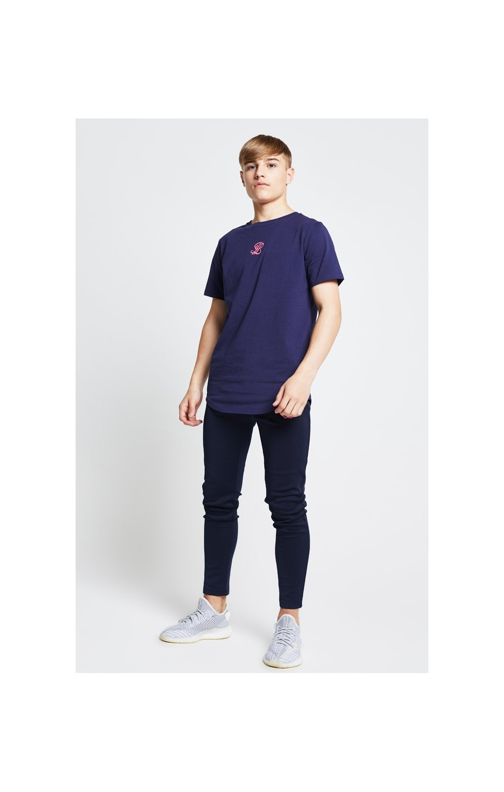Load image into Gallery viewer, Illusive London Racer Back Tee – Navy & Neon Pink Camo (3)