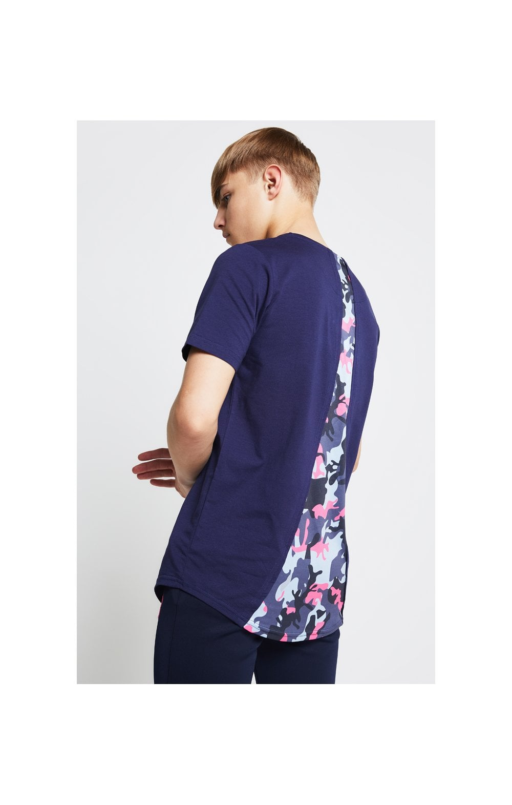 Load image into Gallery viewer, Illusive London Racer Back Tee – Navy & Neon Pink Camo (2)