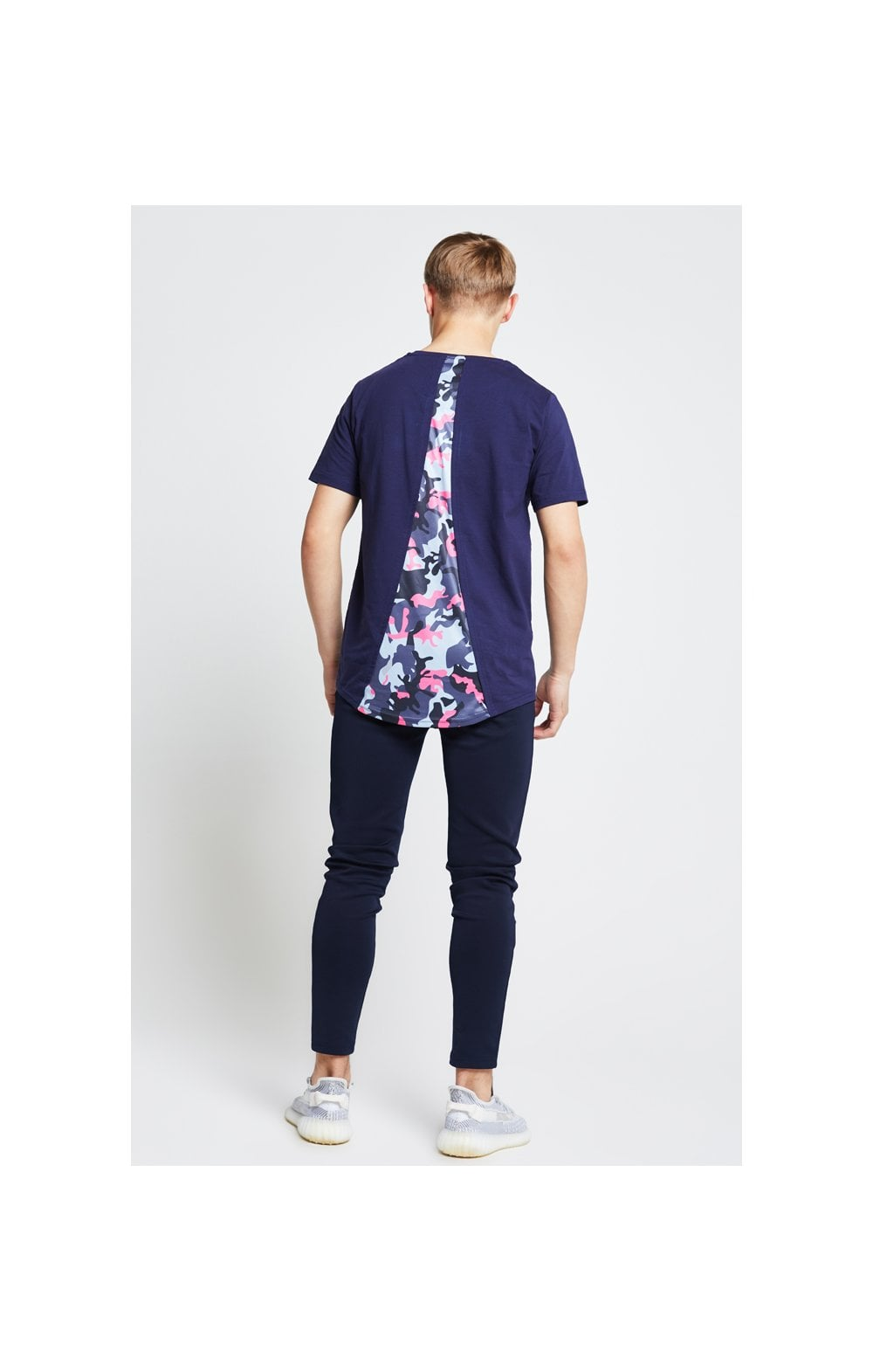Load image into Gallery viewer, Illusive London Racer Back Tee – Navy & Neon Pink Camo (5)