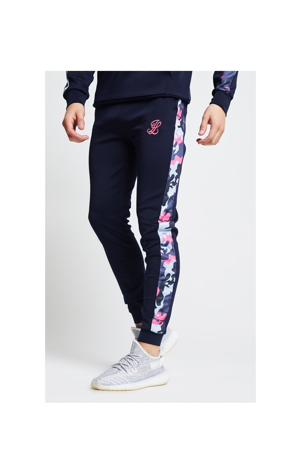 Illusive London Fade Panel Cuffed Joggers – Navy & Neon Pink Camo