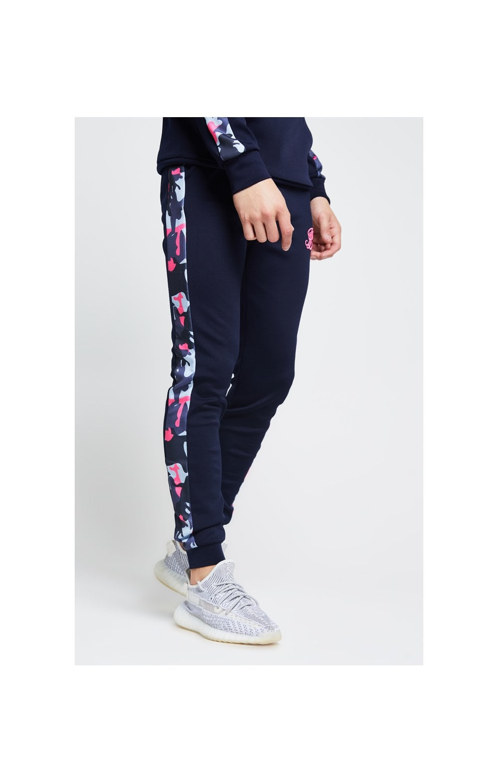 Illusive London Fade Panel Cuffed Joggers – Navy & Neon Pink Camo (2)